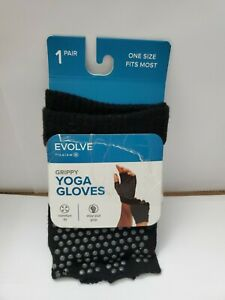 Evolve Gripppy Yoga Gloves 1 Pair Black One Size Fits Most