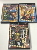 Buzz Lot Of  3 Junior Robo Jam + Hollywood Quiz + Mega Quiz PS2 Playstation 2