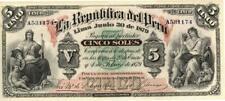 Peru 5 Soles Currency Banknote 1879 AU