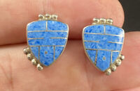 Taxco MB Sterling Silver & Blue Agate Inlay Studded Post Pierced Earrings