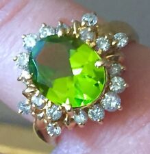 Quality 18k CLEAN green peridot diamonds halo ring august birthstone  ring