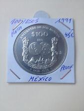MEXICO 100 PESOS 1991. 1ª SERIE IBEROAMERICANA. PLATA PROOF.