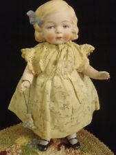"""Antique Earlier Hertwig & Co. German All Bisque Molded Hair Doll 7.5"""" tall"""