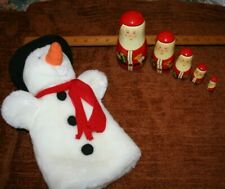 christmas decorations puppet company snowman + russian doll santa
