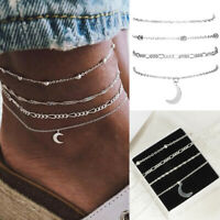 4pcs/Set Women Jewelry Silver Plated Moon Beads Ankle Chain Bracelet Foot Anklet