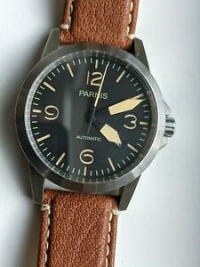 Parnis 42mm Black Dial Sapphire Crystal Military Automatic Pilot Watch PA6043