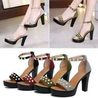 Womens Pearl Ankle Strap Wedge Stiletto Summer Peep Toe Shoes Size Evening Party