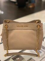 Michael Kors Women Medium Leather Messenger Shoulder Tote Handbag Bag Beige Gold