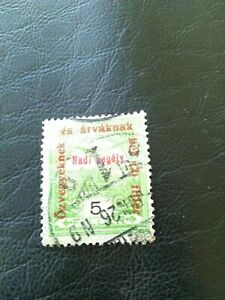 USED STAMP OF HUNGARY 1915 CHARITY STAMP OVERPRINTED 5 FILLER GREEN.