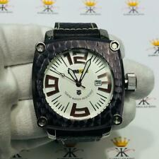TechnoSport Purple Ion Stainless Steel Large Dial Genuine Black Leather Watch