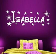 PERSONALISED NAME STARS WALL ART STICKER DECAL BOYS GIRLS BEDROOM