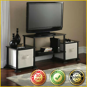 TV STAND ENTERTAINMENT CENTER Console Media Furniture Wood Storage Cabinet Black
