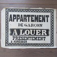 AFFICHE ANCIENNE 1810 APPARTEMENT DE GARÇON A LOUER MAISON IMMOBILIER IMPRIMERIE