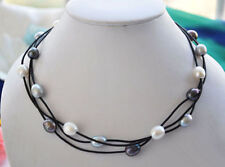 Pearl Leather Pendant Necklace 17.5'' 9-10mm White Black Mix Color Freshwater