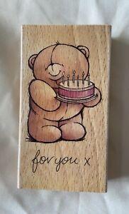 Forever Friends Bear Birthday Stamp On Wooden Block