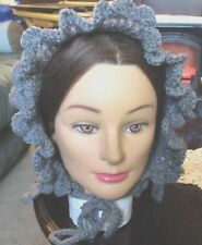 Civil War Dress Victorian Style~Handmade Warm Lady'S Gray Faux Wool Bonnet~Hood