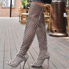 Sexy Womens Over Knee Thigh High Boots Hollow Out High Heels Gladiator Sandals
