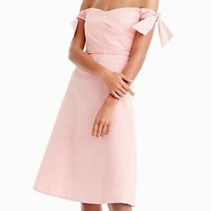 J CREW Off The Shoulder Seersucker Dress Pink White Stripe Size 12P