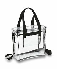 Clear Handbags & More Tote Bag with Adjustable Shoulder Strap and Handles - Clear/Black
