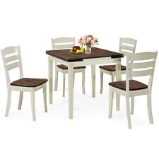 Extendable 5 Piece Wood Dining Table Set 4 Chairs Kitchen Home w/Extension Leaf