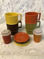 VINTAGE TUPPERWARE FALL COLORS CUPS/MUGS WITH COASTER/LIDS PLUS SALT&PEPPER