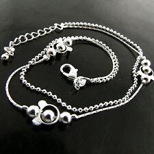 Solid Ladies Bead Link Design 25Cm Anklet Genuine Real 925 Sterling Silver S/F