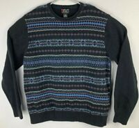 Alexander Julian Colours Pullover Cotton Black Sweater Mens L Large