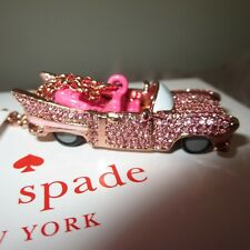 KATE SPADE YOURS TRULY PINK CADILLAC CAR LONG PENDANT ROSE NECKLACE-RARE!