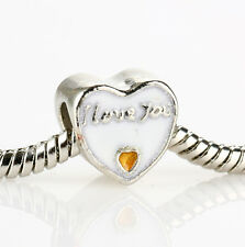 I Love You Gold White Enamel Spacer Glamour Bead Fit 925 Silver Charms Bracelet