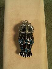 Vintage Sterling Sliver Owl Pendant Brown Enamel, Blue Brown Rhinestones, L@@K