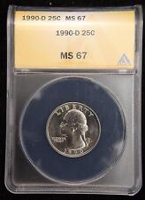 1990-D WASHINGTON QUARTER SUPERB GEM UNC ANACS MS67 US COIN K2784