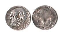 1937 D Novelty Buffalo Nickel Patriotic Skull W/ USA Flag Fantasy Coin
