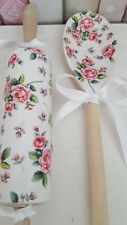 Shabby Chic Country Rose Floral Decorative Mini Rolling Pin & Spoon Set