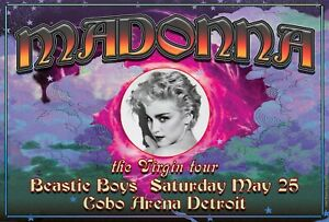 MADONNA DETROIT VIRGIN TOUR POSTER W/ BEASTIE BOYS  ARTIST CARL LUNDGREN 1985