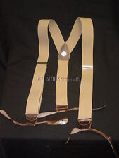 "Khaki color 1.5"" wide ELASTIC mens suspenders braces leather ends MADE in USA"