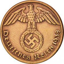 Nazi German Bronze 1 Reichspfennig with Swastika-Hitler Era Original Coin
