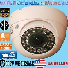 HD-TVI 1080p 2.4MP Motorized Zoom Auto Focus 2.8-12 Dome Camera Sony CMOS-WHITE