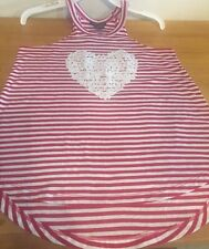 Blush & Bloom girls top, Red & White Striped w/ lace Heart applique, Sz Large