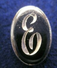 E Initials Monogram Letter Font Vintage Lapel Pin Father's Day gift