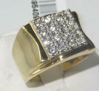 Mens gold ring cz signet pinky square 16 stone stainless steel 18kt all size751