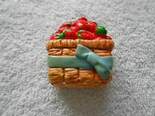 Strawberry Fruit Basket 3D Refrigerator Magnet Blue Bow