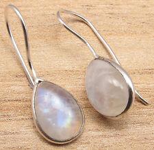 Fire Rainbow Moonstone Art Earrings 925 Silver Overlay Real Blue