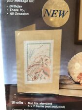 WonderArt Needle Notes Card Embroidery Kit Shells Beach Seashells