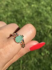 1.7CT NEON COLOMBIAN EMERALD ENGAGEMENT RING WITH MULTI GEM BAND 18K GOLD OVER