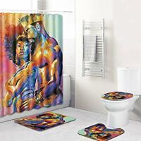 4Pc Set Couple Shower Bathroom Rug+Lid Toilet Seat Cover+Bath Mat+Shower Curtain