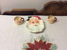 Vintage Ceramic Small Santa Dish And 2 Plastic Winking Santa Cups
