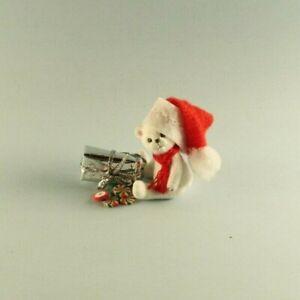 OOAK~Polar Bear~Santa~Christmas~Mini~Baby Toy~Artist Doll~Dollhouse~Cheryl Brown