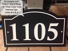 "Arched House Address Plaque Black/White 1/4"" King ColorCore Engraved"
