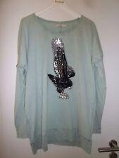 außergewöhnliches Damen T-Shirt von Cream, Gr.L, oliv mit Pailletten-Adler