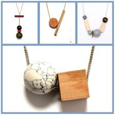 Women Fashion Geometric Wood Pendant Gold Chain Long Necklace SET Jewelry